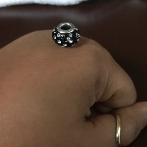 Black and white crystal charm